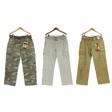 NWT Iron Co Men 100% Cotton Relaxed Straight Leg Fit Vintage Belted Cargo Pants
