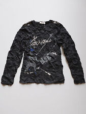 3 Pommes Girls Black Crinkled Jersey Long Sleeve T Top Size 4, 5, 6, 10 NWT $34