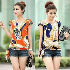 Womens Chiffon Casual Retro Floral Printed Zipper Blouse Shirt Short Sleeve Tops