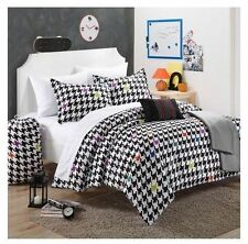 NEW Twin XL Full Bed 10 pc Black Houndstooth Comforter Sheets College Dorm Set