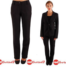 Womens Black Tailored Office Work Straight Stretch Business Dress Pants Trousers
