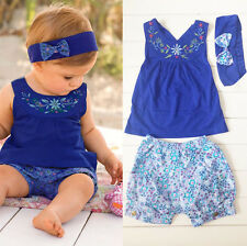Baby Kids Girls Lovely Shirts Pants 3PCS Sets Outfits for newborn to 2 Years
