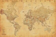 New Map Of The World Vintage Style World Map Poster
