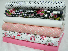 NEW 100% Cotton Fabric Spring Black Check Polka Dot Vintage Rose by the METRE