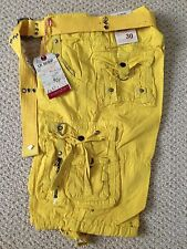 NWT Boy's LR Scoop Bright Yellow Solid Belted Cargo Shorts ALL SIZES 4-7, 8-18