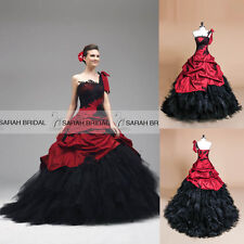 New One Shoulder Tulle Black Red Bridal Ball Gown Evening Quinceanera Prom Dress