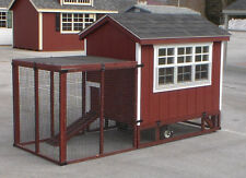 Extra Large 6' x 4' Chicken Coop w/ Fenced Yard - Multi-Chicken Hardwood Coop
