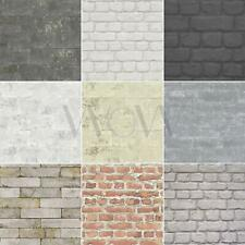 RASCH 10M LUXURY TEXTURED BRICK EFFECT WALLPAPER STONE WALL GREY BLACK RED NEW
