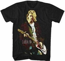 Kurt Cobain Red Jacket Guitar Grunge Music Band Nirvana Rock T Tee Shirt S-2Xl