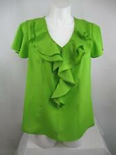 CATO Flutter Sleeve Polyester Blouse with Front Ruffle and V Neckline in Lime