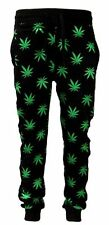 Men's Marijuana Weed Plant Print Black/Green Slim Fit Sweat Pants Joggers S~XL