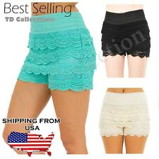 TD Collection NEW Crochet Tiered Pedal Lace Mini Shorts Skorts Pants S/M M/L