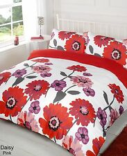 Daisy Red Duvet Bedding Set - Single-Double-King size-Super King Size