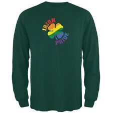 St. Patricks Day Gay Irish Pride Shamrock Forest Green Adult Long Sleeve T-Shirt