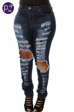 PLUS NEW JEANS DESTROYED RIPPED DISTRESSED WOMEN SKINNY SLIM BLUE DENIM JEANS