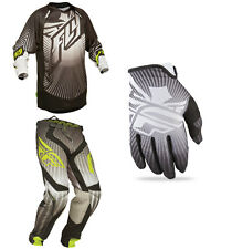 Fly Racing Black Grey Mens Lite Hydrogen Jersey & Pant w/ Lite Gloves Kit Dirt