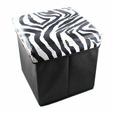 Folding Home Storage Pouffe Ottoman Foot Stool Toy Chest Box Seat Cube+Hook Y