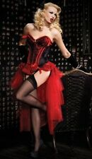 Burlesque Showgirl Red Valentina Corset With Bustle Skirt Costume / Lingerie