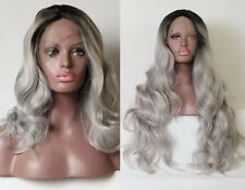 """12""""-30"""" Black to grey Ombre Synthetic Lace Front High Heat Resistant Wig"""