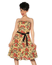 Forever Yours Strapless Dress retro vintage rockabilly punk skull roses *FOLTER*