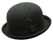 NEW Conner BOWLER DERBY CRUSHABLE Water Proof WOOL Fedora Top Hat Grey Mix C1014