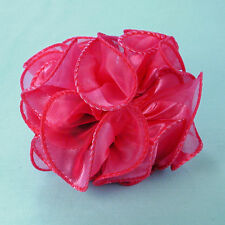 Small 3-1/2 Satin and Chiffon Puffy Hair Bow Claw Clips in Several Colors (H716)