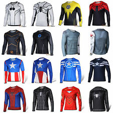 Men Superhero Avengers T-shirt Long Sleeve Sports Fitness Jersey Cycling Tee Top
