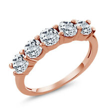 1.65 Ct Round White Topaz 925 Rose Gold Plated Silver 5-Stone Band Ring