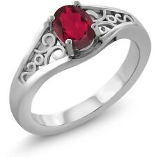 0.95 Ct Oval Red Mystic Topaz 14K White Gold Ring