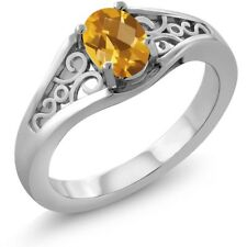 0.70 Ct Oval Checkerboard Yellow Citrine 18K White Gold Ring