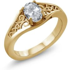 0.95 Ct Oval White Topaz 18K Yellow Gold Ring