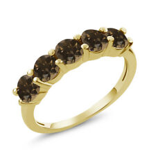 1.30 Ct Round Brown Smoky Quartz 925 Yellow Gold Plated Silver 5-Stone Band Ring