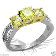 Two Tone IP Round Cubic Zircon CZ AAA Engagement Ring Size 5 6 7 8 9 10 TK1795