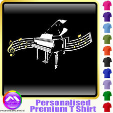 Piano Curved Stave - Personalised Music T Shirt 5yrs - 6XL by MusicaliTee