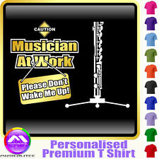 Flute Dont Wake Me - Personalised Music T Shirt 5yrs - 6XL by MusicaliTee