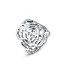 Size6,7,8 18K White Gold Filled Fashion Jewelry Rose Flower Women's Rings Gift