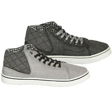 Soulstar Mens Designer Branded Quilted Canvas HiTops Casual Pumps Trainers, BNWT