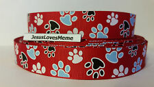 Grosgrain Ribbon, Paw Prints on Red, Dogs Cats Animal Rescue Collars Leashes 7/8
