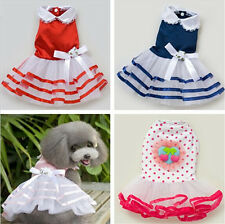 Small girl pet dog pet clothes apparel bowtie gauze summer princess dress skirt