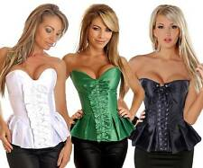 Sexy Strapless Pleated Burlesque Corset Top Satin 2 Col Selection UK S M L XL 2X