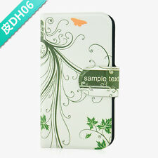 new beautiful green leaves PU Leather Flip Case Cover For Lenovo Phone 06
