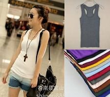 Fashion Basic Women's Solid Tank Top Racer Back Cami Vest No Sleeve T-Shirt