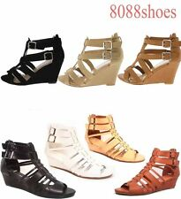 Buckle Strappy Open Toe Buckle Low Wedge Summer Sandal Shoes Size 5.5 - 10 NEW