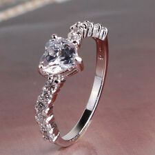 Extraordinary great heart topaz 18k white GF Exclusive style ring  Sz5-Sz9