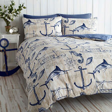 NAUTICAL BOAT WAVES ANCHOR SHIP QUILT DUVET COVER BEDDING SET SINGLE DOUBLE KING