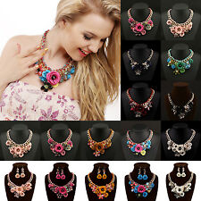 New Fashion Chain Crystal Flower Bib Big Statement Chunky Necklace Collar Gift