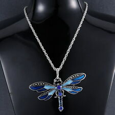 Retro Silver Jewelry Dragonfly Pendant Crystal Sweater Chain Necklace Xmas Gifts