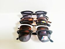 Polarized Clubmaster Malcolm X Browline Horn Rim Sunglasses Choice of Colors
