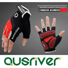 Premium New Cycling Bicyle Half-Finger Mitts Gloves Motorcycle Antiskid Pad Red