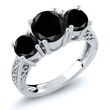 2.45 Ct Round Black AAA Diamond 925 Sterling Silver 3-Stone Ring